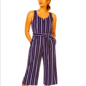 Black Tape Striped Culotte Jumpsuit